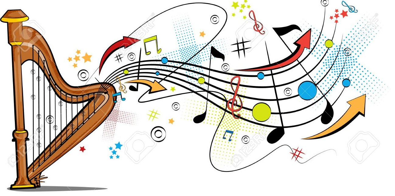 98803151 abstract swirly musical background with harp music instrument