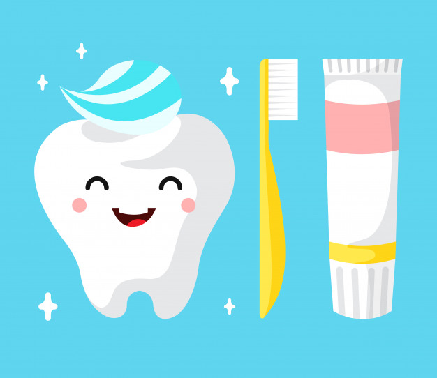healthy cute cartoon tooth character smiling happily tooth with toothpaste 1416 248
